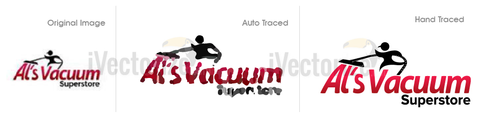 Auto traced and hand traced logo example