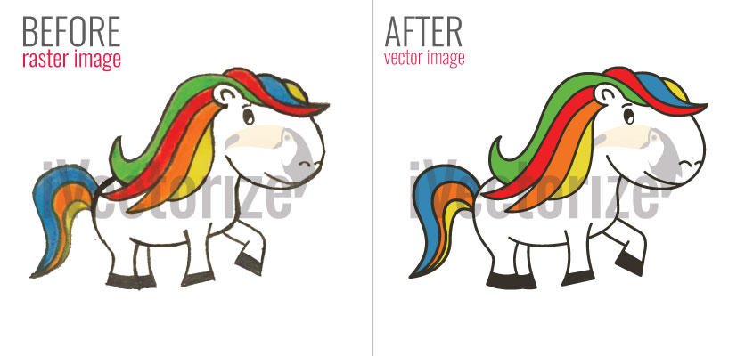 Before and after vector conversion