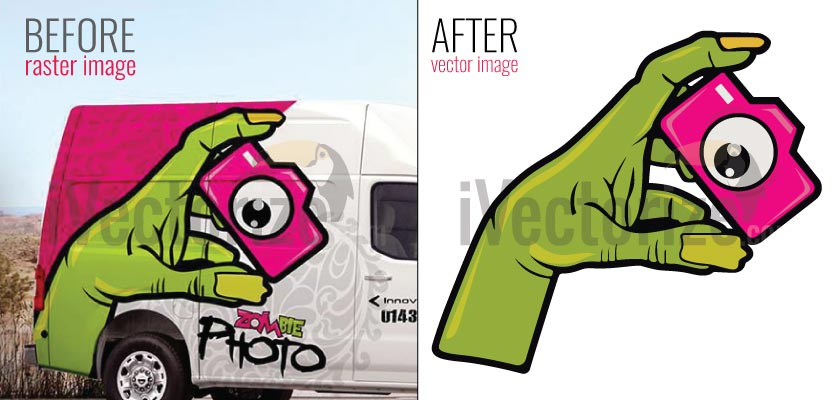 Left side jpg image and right side vectorized image